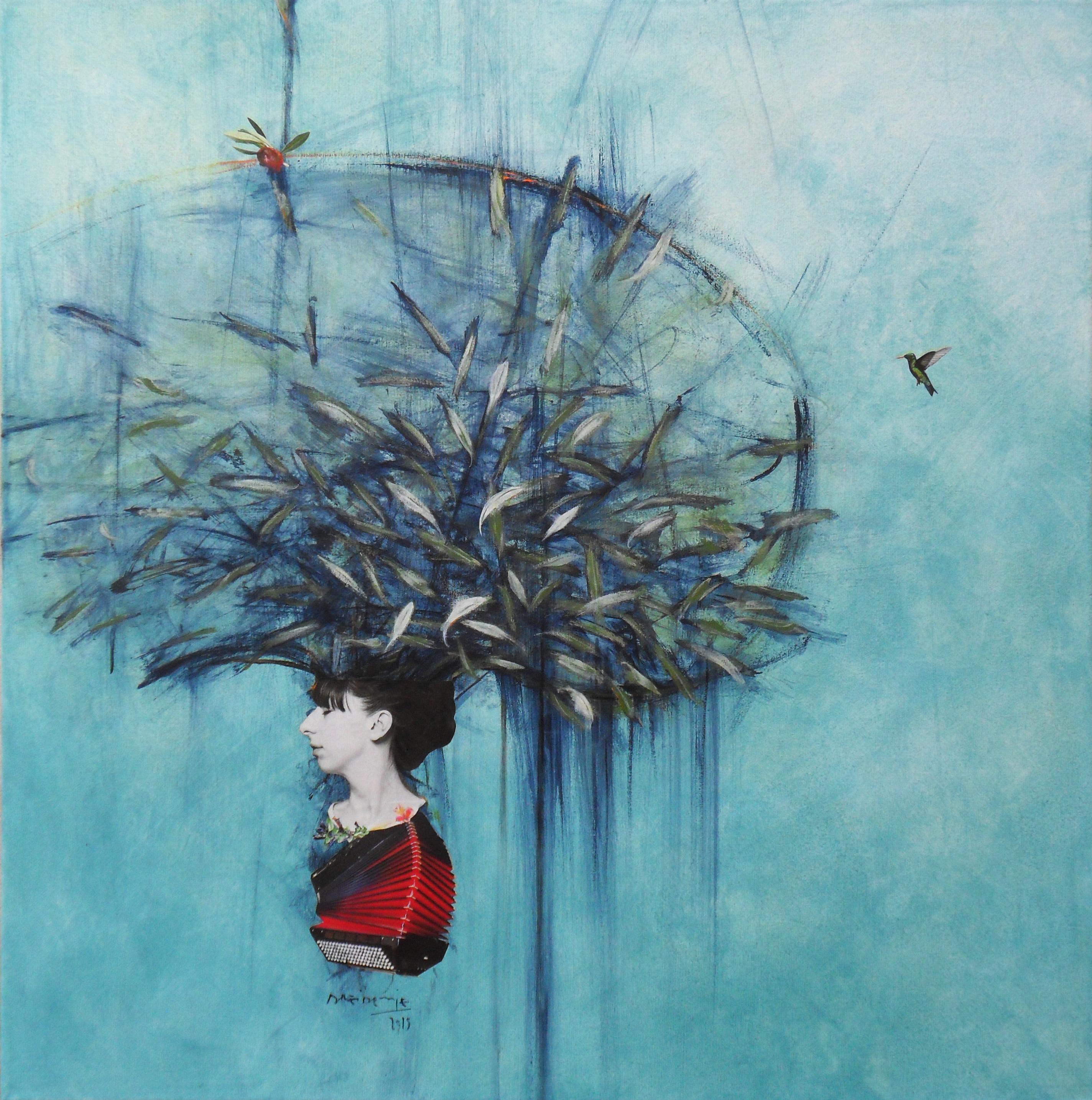 MEMORIA OLIVA Y ROJO - técnica mixta sobre tela - 70 x 70 cm - 2015